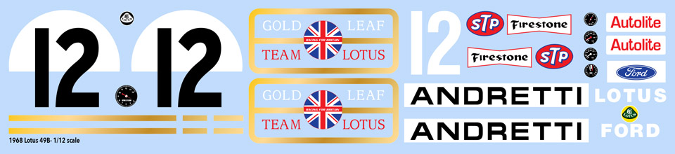 1968 Lotus 49B Mario Andretti Decals