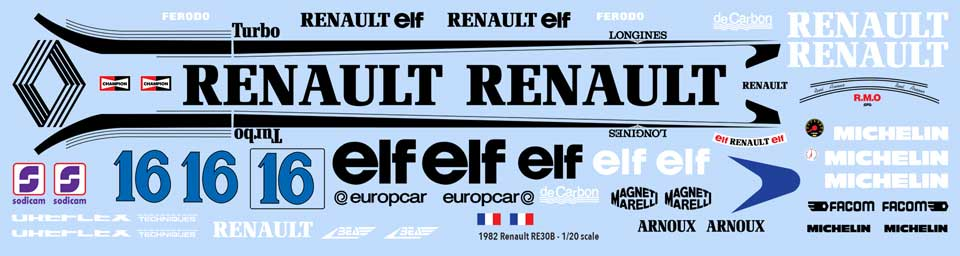 1982 Renault RE30B Decals