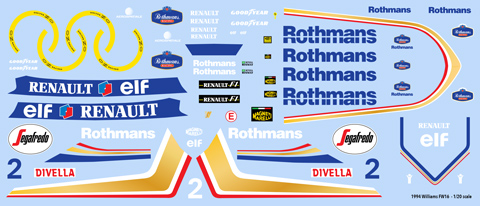 Williams FW16 decal sheet